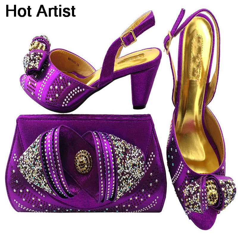 Hot Artist 2018 Newest Italian Shoes With Matching Bag Shining In Wedding Shoes With Matching Bags Women Shoes And Bag MM1045 cd158 1 free shipping hot sale fashion design shoes and matching bag with glitter item in black