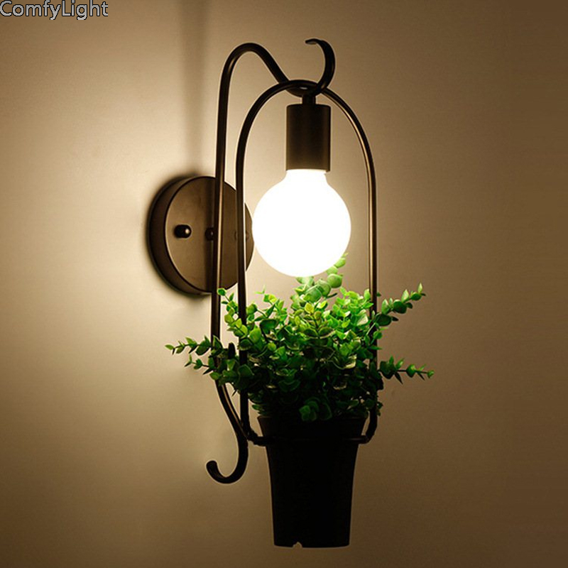 Potted Plant wall Light Garden Creative Modern Lightshade Flower Pots for Growing Herbs black iron LED E27 kid room cafe lamp