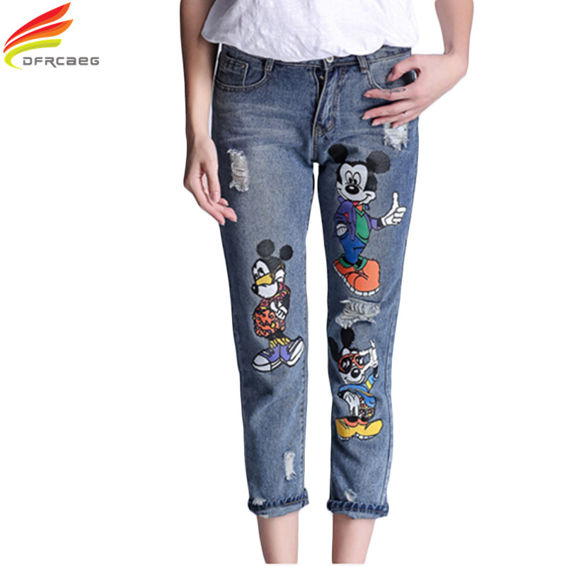 5XL 2018 Mode Hoge Taille Potlood Boyfriend Jeans Femme Print Cartoon Jeans Vrouw Denim Broek Plus Ripped Jeans Voor Dames