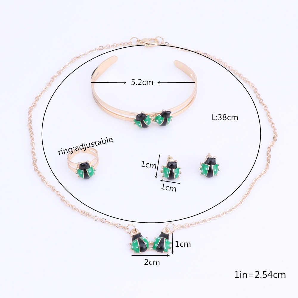ทอง-สีเด็กชุดเครื่องประดับL Adybugจี้สร้อยคอสร้อยข้อมือกำไลข้อมือแหวนต่างหูทารกแฟชั่น