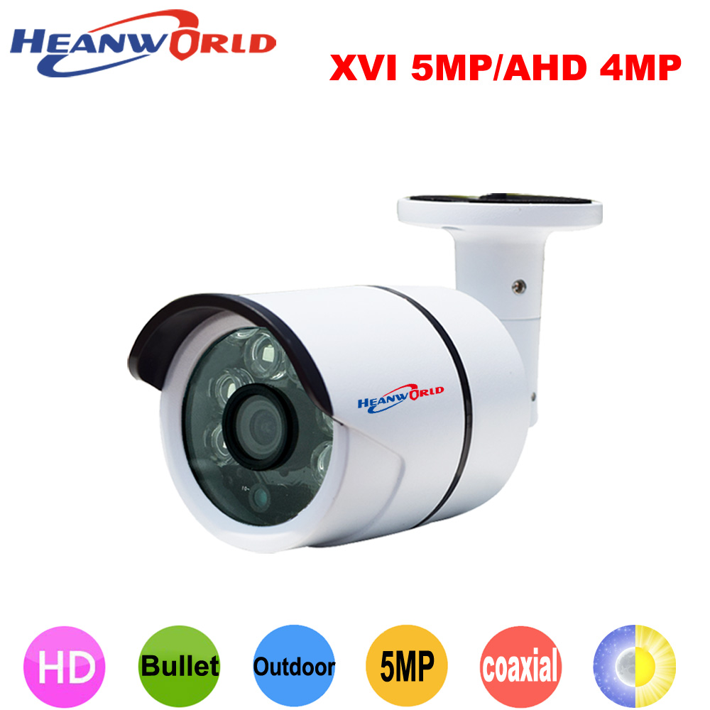 Heanworld 5MP XVI AHD Camera 4MP Security Camera outdoor CCTV Night Vision Video Surveillance waterproof bullet camera metal new product hd 5mp security camera gray metal bullet cctv ahd camera surveillance camera waterproof infrared night vision