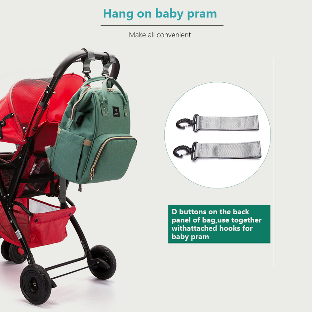 HTB1H1l btfvK1RjSspfq6zzXFXab Baby Diaper Bag With USB Interface Large Capacity Travel Backpack Nursing Handbag Waterproof Nappy Bag for Baby Care with 2 Hook