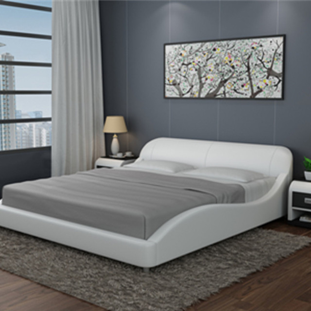 Cheap Simple Beautiful Bedroom Furniture Modern Soft Leather Bed In