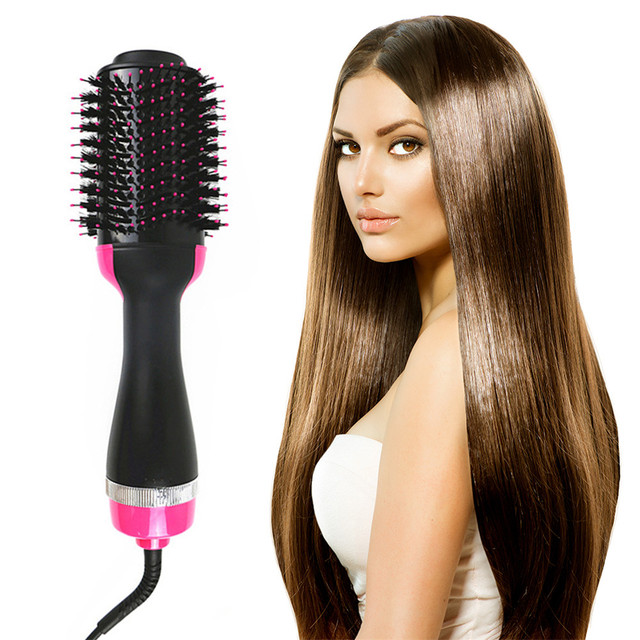 Dropshipping Electric Heating Comb Hair Straightener Curler Professional Salon One Step Dry/Wet Two Use Hair Dryer Massage Brush 2