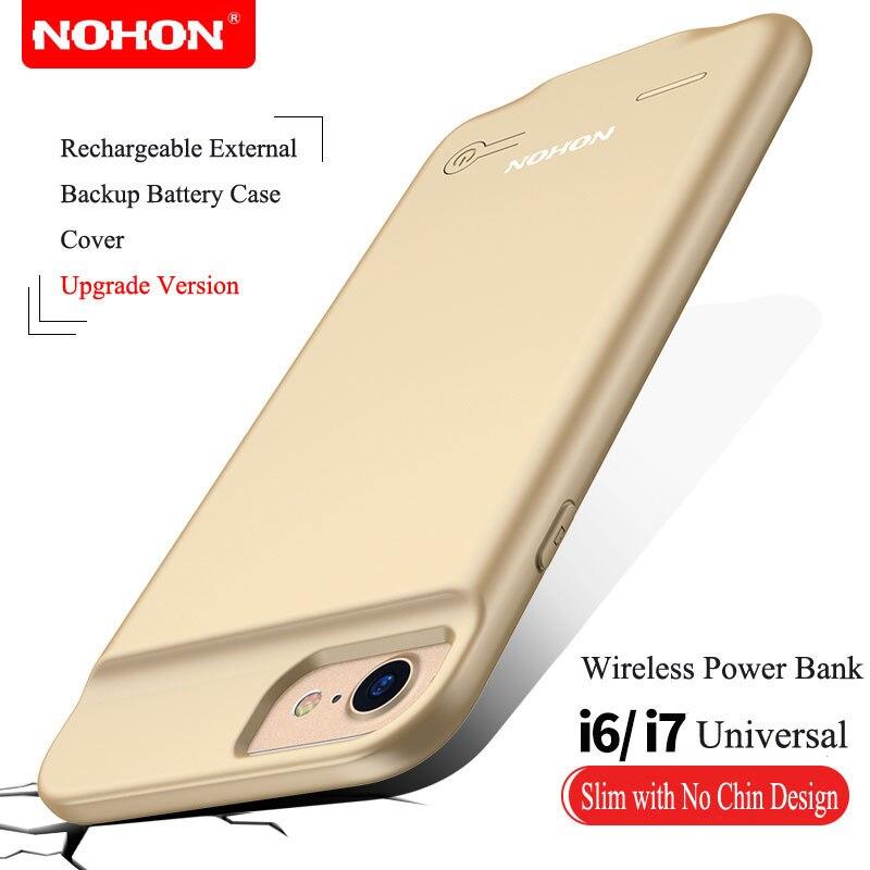 imágenes para Ultra Delgado NOHON Cargador de Batería Externa Para el iphone 6 6 S 7 Caja de Batería de Reserva Portable 2500 mAh Banco de la Energía Inalámbrica cubierta