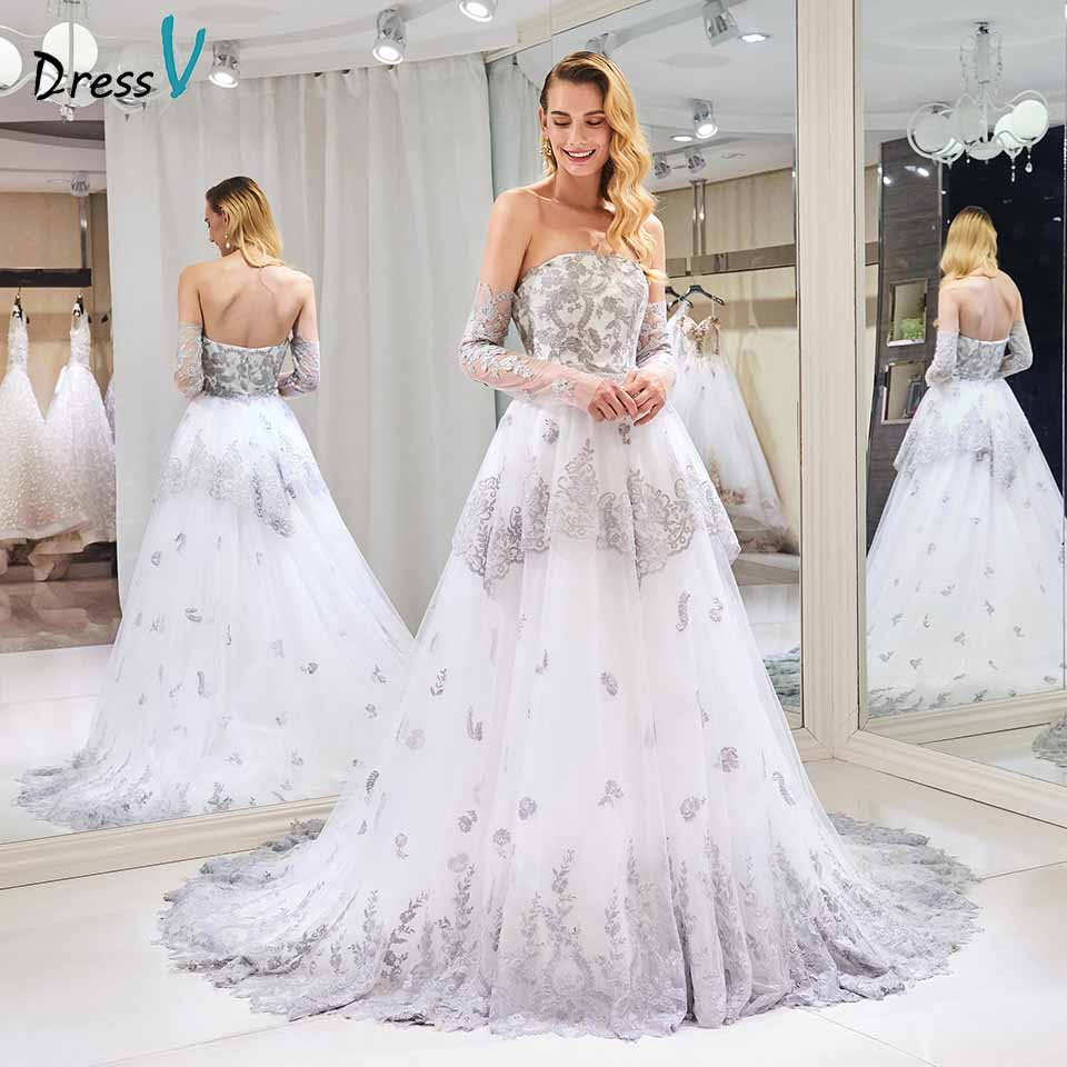 Dressv strapless wedding dress ball gown tiered appliques 3/4 sleeves floor length bridal outdoor&church wedding dresses