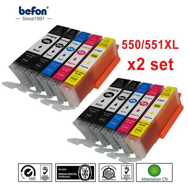 Befon X2 set Compatível 550 551 XL Cartucho De Tinta Para Reposição para Canon PGI-550XL PGI 550 CLI551 PGI550 para PIXMA IP7250 MG5450