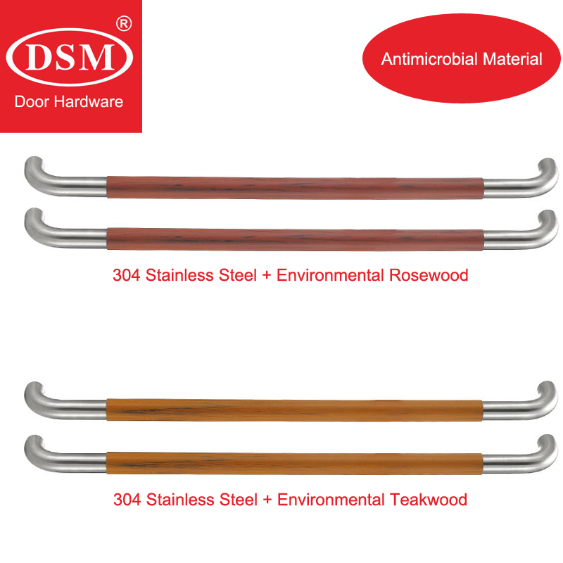 Antimicrobial Environmental Wood Pull Handle PA-710 Entrance Door Handles For Entry/Glass/Shop/Store Doors modern entrance door handle 304 stainless steel pull handles pa 104 32 1000mm 1200mm for entry glass shop store big doors
