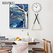 Abstract Morden Nordic Canvas Wall PictureS Forest Elk Printing Posters  for Living Room Home Decor DJ236