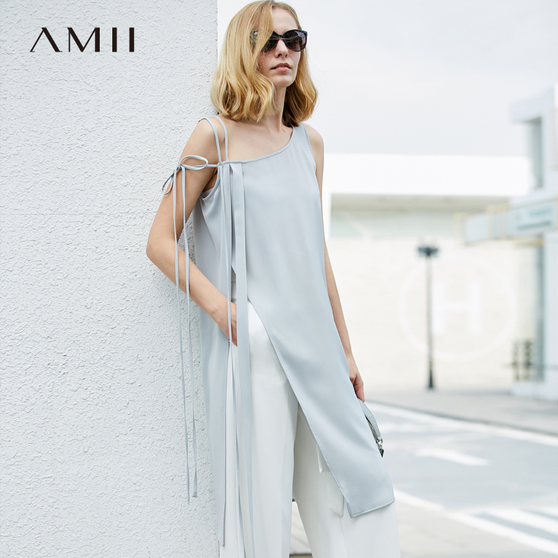 Amii Women Minimalist Tank Tops 2019 Solid Straps Long Slits Female Camis Tops