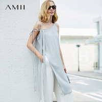 Amii Women Minimalist Tank Tops 2018 Solid Straps Long Slits Female Camis Tops