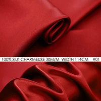 CISULI 100% SILK CHARMEUSE SATIN 114cm width 30momme Silk China Fabric Suppliers Wedding Dress Fabric Red NO 01