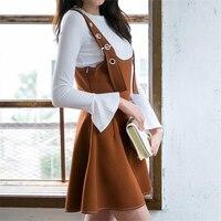 DoreenBow Nowy Khaki Suknia Balowa Sukienka Kobiety Fahion Jesień Zima Długim Rękawem Regulowany Dwa Kawałki Biały Pasek Sukienka Khaki, 1 Zestaw