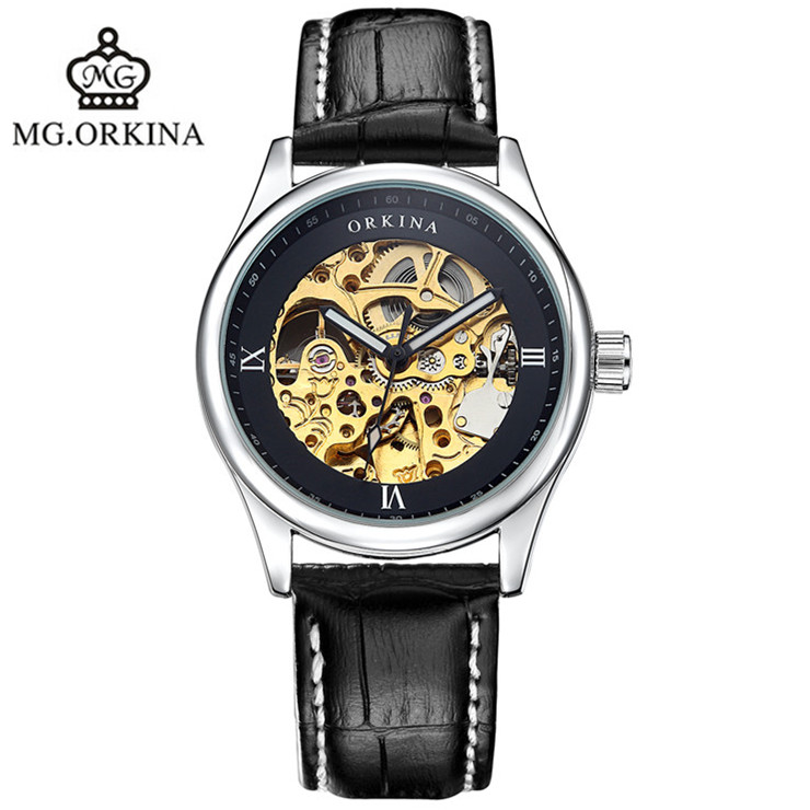 Hot hollow leather automatic mechanical watches fashion waterproof man 2016 brand luxury clock famous ORKINA