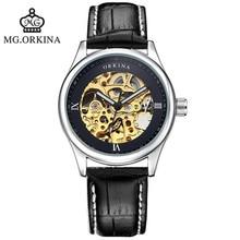Горячая полые кожа автоматические механические часы моды водонепроницаемый человек 2016 марка роскошные часы известный ORKINA