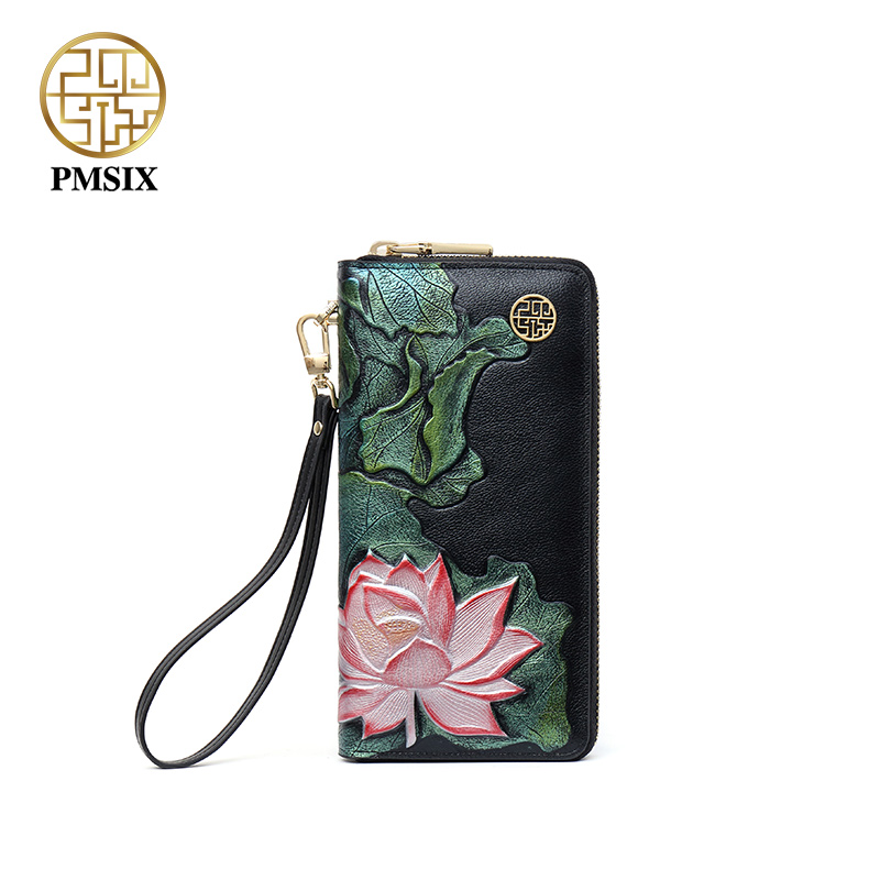 Pmsix 2019 Luxury Female Purse Famous Brand fashion wallet Vintage Floral Printing solid Callphone Bags Zipper