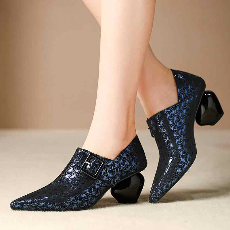 Büyük boy garip tarzı yüksek topuklu koyun sivri burun zip zarif kadın pompaları marka olgun baskı ofis bayan sonbahar ayakkabı l10