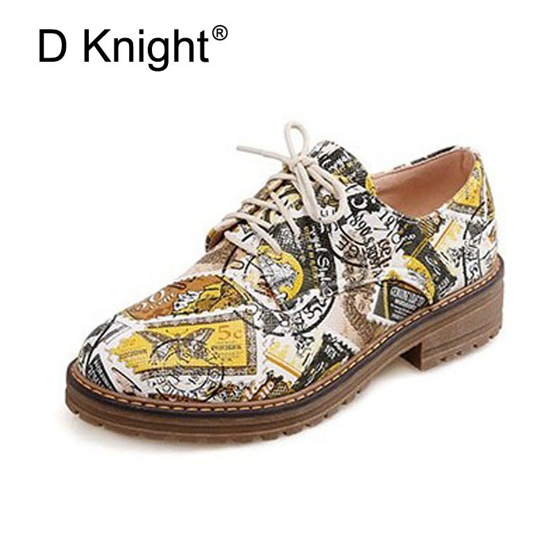 New Fashion Stamp Print Pu Flats For Women Ladies Casual Round Toe Lace Up Flat Shoes England Oxford Shoes For Women Size 34-43 fun ville 2018 new fashion women flats shoes genuine leather sheepskin casual shoes square heel 4cm round toe lace up size 34 43