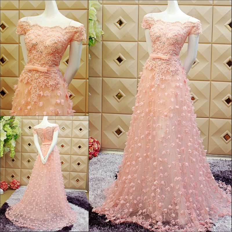 boat neck 2015 Hot&sexy prom party dresses vestido de noiva lace beading long evening dress crystal short sleeve bow flowers