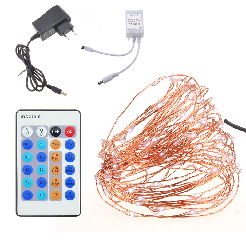 10M 100 LED Fairy String Lights 5V Adapter And Remote Control for Glass Craft Bottle Fairy Valentines Wedding Decoration Lamp