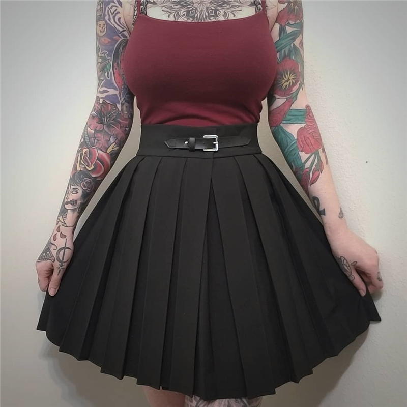 InstaHot Gothic High Waist Pleated Skirts Women 2019 Punk School Style Ruched Black Pleated Mini Skirts Buckle Streetwear Spring