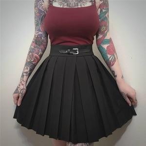 Image 1 - InstaHot gothique taille haute plissé jupes femmes 2019 Punk école Style froncé noir plissé Mini jupes boucle Streetwear printemps