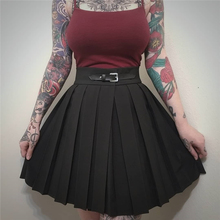 InstaHot minifaldas plisadas de cintura alta para mujer, estilo escolar Punk, plisadas, fruncidas, negras, con hebilla, Primavera, 2019