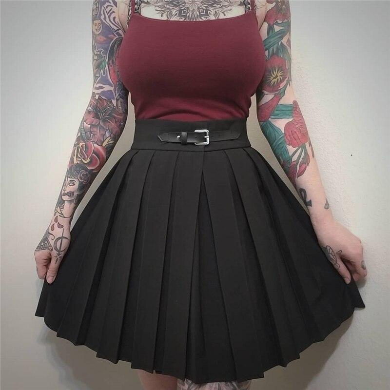 Женские плиссированные мини юбки InstaHot, черные плиссированные мини юбки с высокой талией в стиле панк и школы, с пряжкой, на весну 2019|Юбки|   | АлиЭкспресс