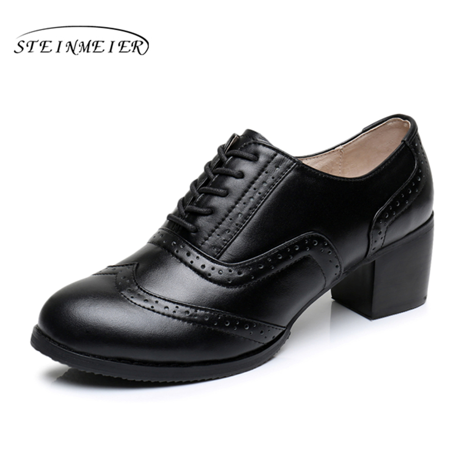Cow leather big woman shoes US size 9 designer vintage High heels round toe handmade black pumps 2019 sping with fur genuine leather woman size 9 designer yinzo vintage flat shoes round toe handmade black grey oxford shoes for women 2017