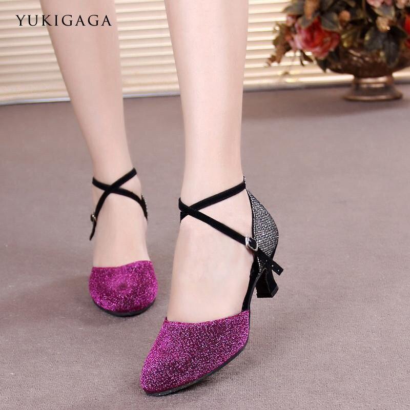 Yukigaga Latin Dance Shoes Flash Rhinestone Shining Skin Black Satin Women Salsa Party Ballroom Shoes Cuba 3.5/5.5cm Heel L3e
