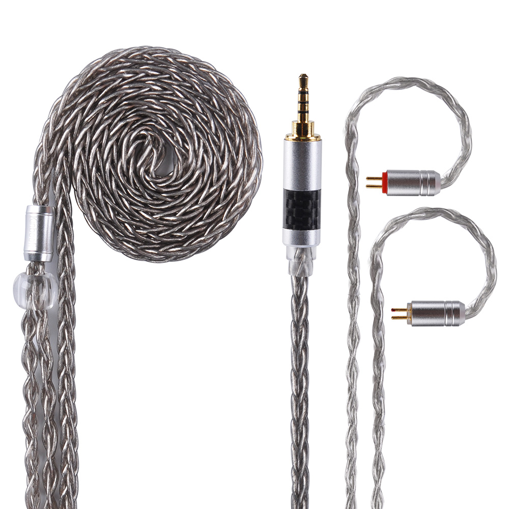 AK Kinboofi 8 Core Copper Silver Plated Cable 3.5/2.5/4.4mm Hifi Earphone Cable With MMCX/2pin Connector For CCA KZ ZSN PRO TRNAK Kinboofi 8 Core Copper Silver Plated Cable 3.5/2.5/4.4mm Hifi Earphone Cable With MMCX/2pin Connector For CCA KZ ZSN PRO TRN