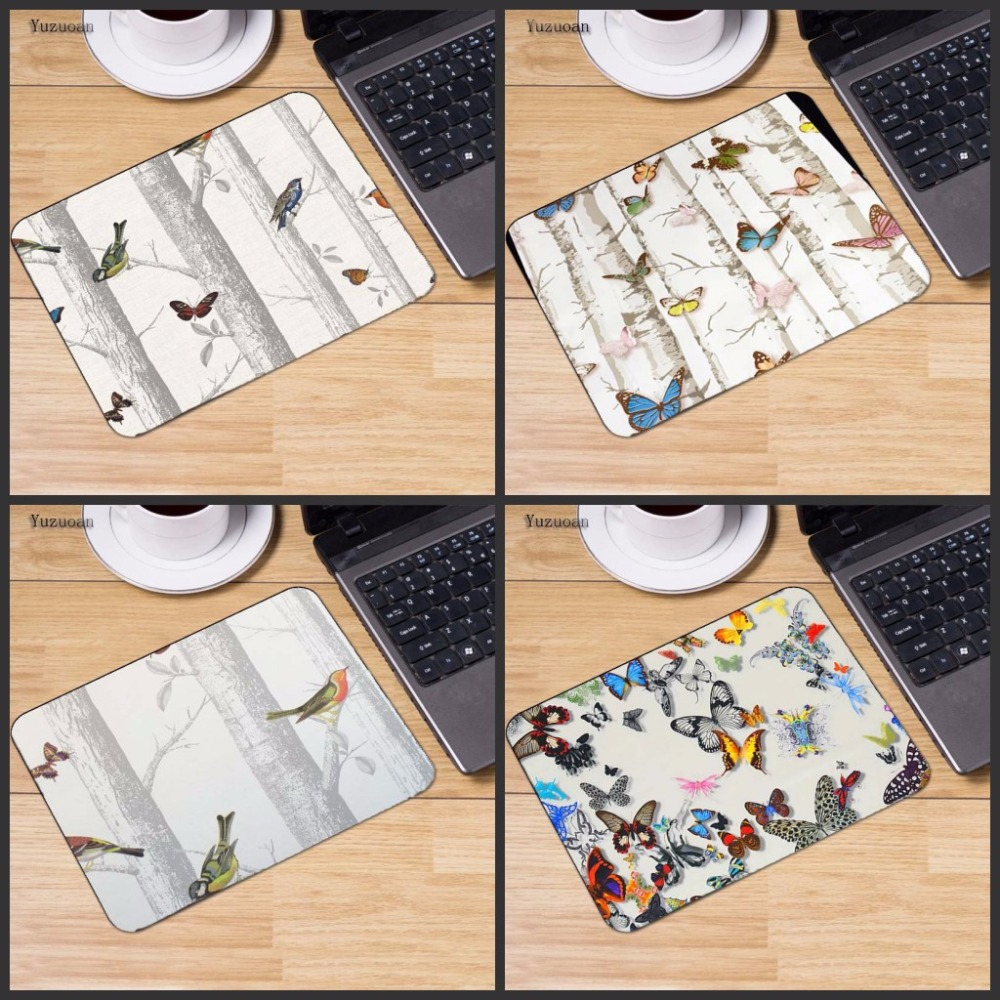 Yuzuoan Butterfly Tree Woods Motif Anti-Slip Laptop PC Mice Pad Table Mat Mouse pads For Optical Laser Mouse Gamer Mousepad