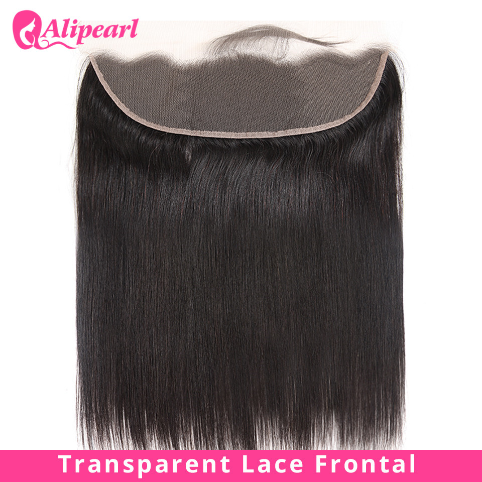 Straight Transparent Lace Frontal 13X4 Ear To Ear Free Part With Baby Hair Pre Plucked Brazilian Human Hair Remy AliPearl Hair(China)