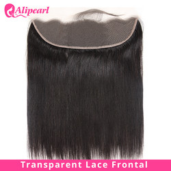 Straight Transparent Lace Frontal 13X4 Ear To Ear Free Part With Baby Hair Pre Plucked Brazilian Human Hair Remy AliPearl Hair