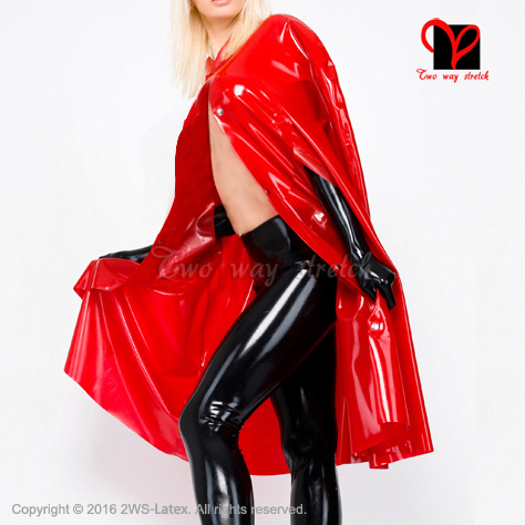 Sexy Red Latex cape long Jacket Rubber Robe Gummi coat blouse catsuit Bolero Crop Top font