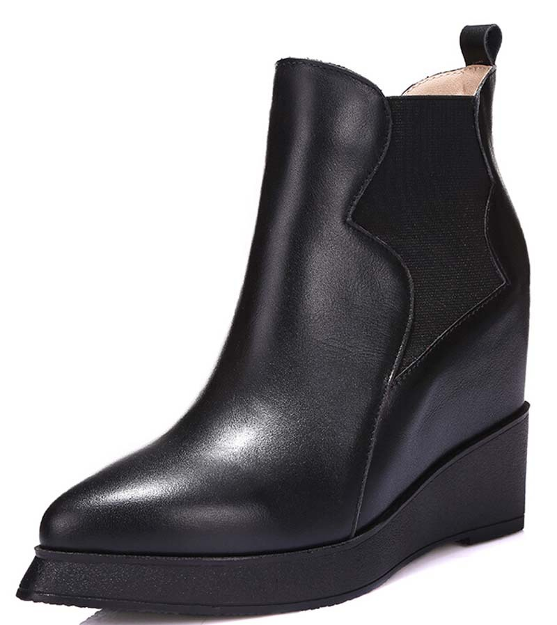 ФОТО ENMAYER Fashion Round Toe Black Motorcycle boots platform Wedges ankle Boots for women Martin shoes snow boots size 34-39