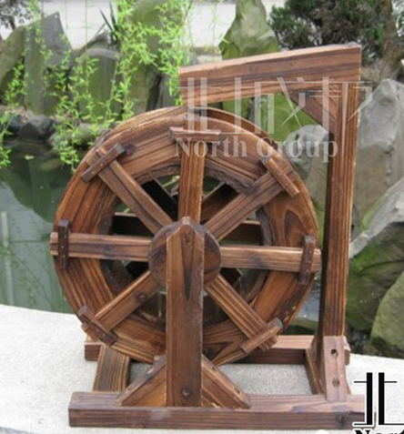 Rockery Carbon Wooden Waterwheel Wood Windmill Diameter 60CM Windmill  Pinwheel Wind Wheel Eolian Generator Garden Decorations