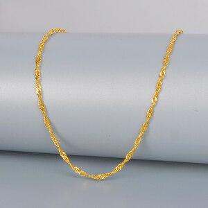 Image 4 - DCZB 24K الذهب الخالص قلادة ريال AU 999 سلسلة الذهب الصلب تموج المياه لطيفة الراقي العصرية الكلاسيكية غرامة مجوهرات الساخن بيع جديد 2020