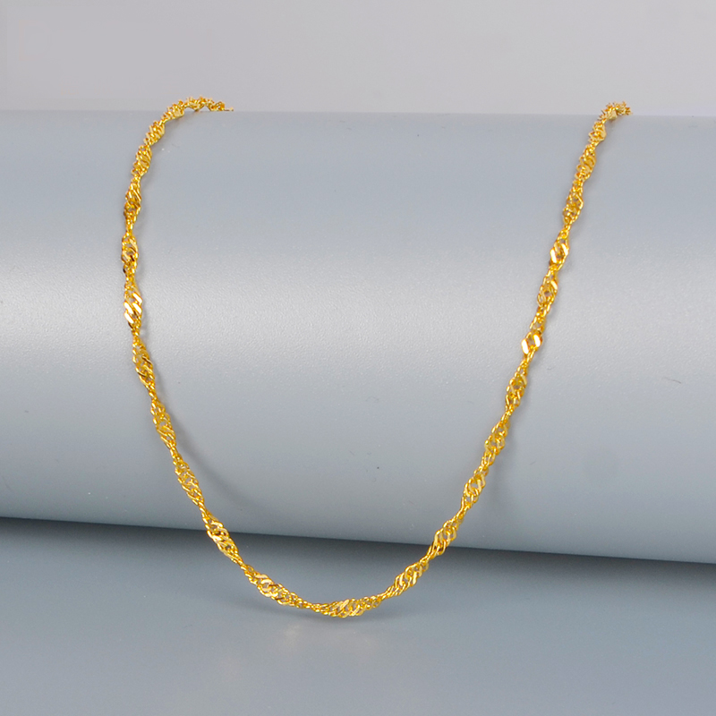 Image 4 - DCZB 24K Pure Gold Necklace Real AU 999 Solid Gold Chain Nice Water Ripple Upscale Trendy Classic Fine Jewelry Hot Sell New 2019-in Necklaces from Jewelry & Accessories