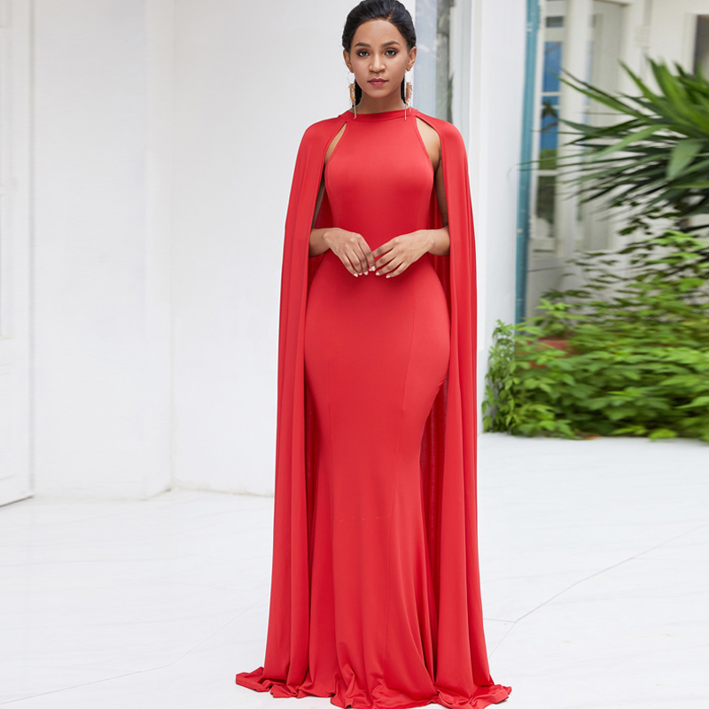 2019 <font><b>Women's</b></font> Elegant Party Mermaid <font><b>Dresses</b></font> Cloak Sleeve Sheath <font><b>Bodycon</b></font> Summer Red Green <font><b>Black</b></font> <font><b>Long</b></font> Maxi <font><b>Dress</b></font> Vestidos Mujer image