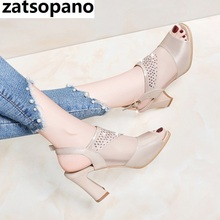 Zatsopano 2019 New Open Toe Sexy Fashion Sandals Women Shoes Summer Sandals Mesh+ Leather Shoes Woman Sandals 9cm High Heels