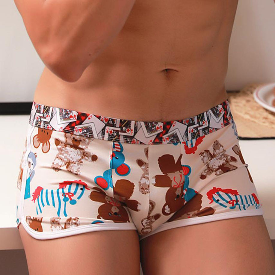 Hot Fashion Sexy Mens Underwear Shorts Underpants Cartoon Prints Soft Cotton Breathable Boxers Panties For Men Drop Shipping