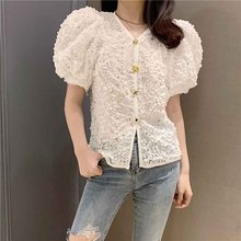 2019 Summer Elegant Embroidery Lace Blouses V-Neck Party Top Puff Sleeve Casual Loose Chiffon Shirt