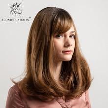 ac2be2920cb0f شقراء يونيكورن 14 بوصة الاصطناعية وصلات شعر طبيعي مموج شعر مستعار مع  الانفجارات الكتف طول الجذر