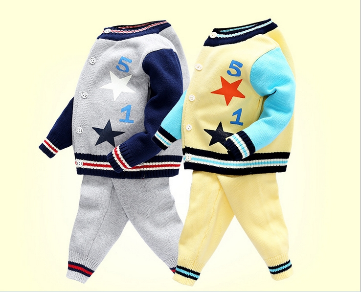 2016 Baby Boy Knitted Autumn Sweater Kids Knitting Outwear Long Sleeve Baby Clothes Clothing 2Pieces(Tops+Pants)