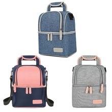 School Backpack Double Layer Fashion Portable Food Cooler Picnic Bags for Women Thermal Lunch Box Kids Milk Bag
