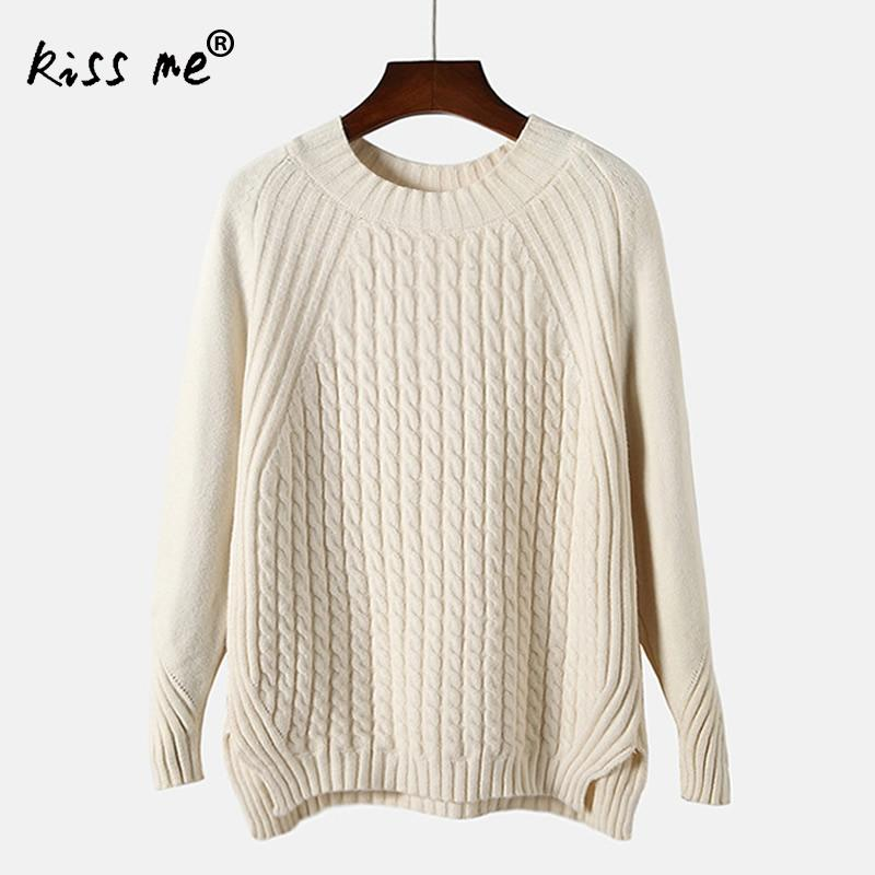 Autumn and Winter Women Sweater Side Split Design Casual Loose Women Knitted Sweater Pullover Jumper Free Size Beige Green Pink