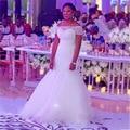 Newest Off Shoulder Short Sleeves Wedding Dress 2017 Mermaid Wedding Dresses Bridal Gown Custom Size Color