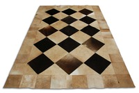 100 GENUINE LEATHER BLACK AND BEIGE COWHIDE PATCHWORK RUG SQUARES DESIGN NO 143