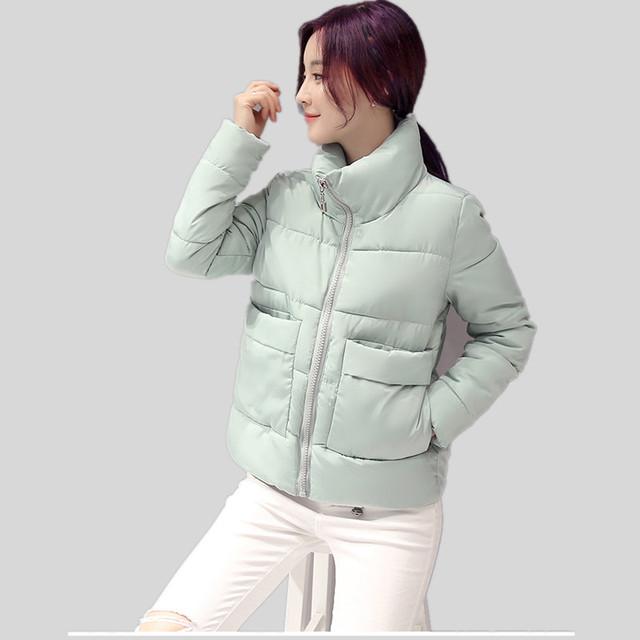 Inverno Das Mulheres de Design Curto Wadded Casacos Solto Fit Pão Quente Casacos Doce Cor Solto Parkas Jaqueta de Algodão Curto Outwear Rosa
